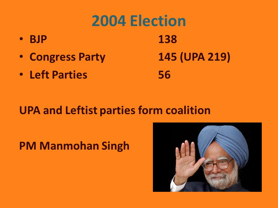 2004 Election BJP 138 Congress Party 145 (UPA 219) Left Parties56 UPA and Leftist parties form coalition PM Manmohan Singh