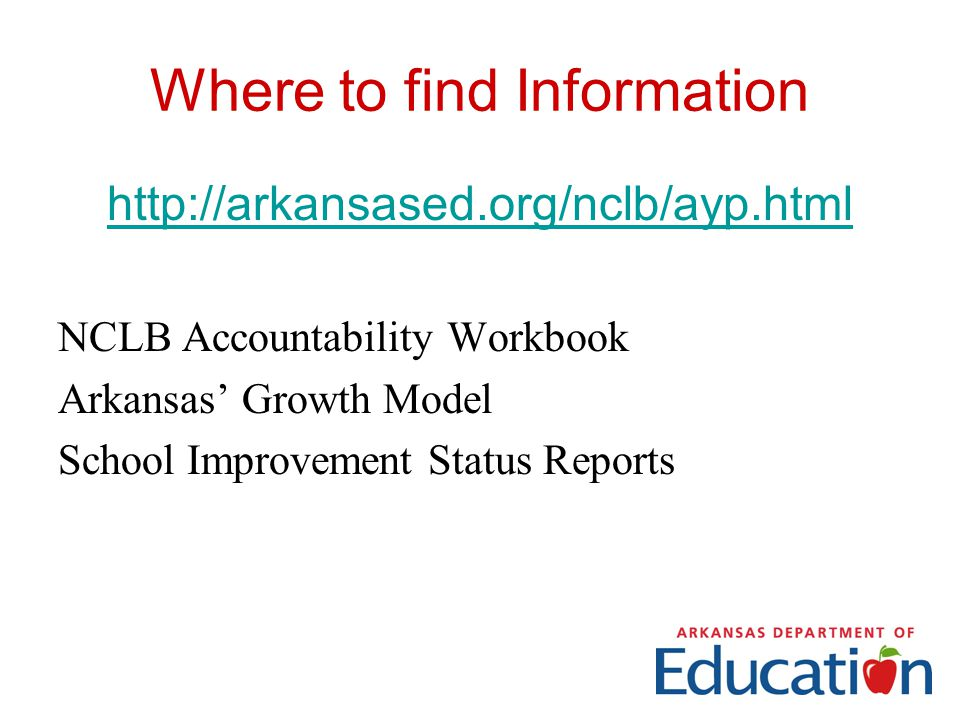Where to find Information   NCLB Accountability Workbook Arkansas' Growth Model School Improvement Status Reports