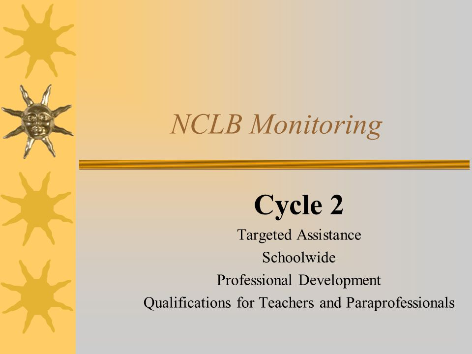 NCLB Monitoring Cycle 2 Targeted Assistance Schoolwide Professional Development Qualifications for Teachers and Paraprofessionals