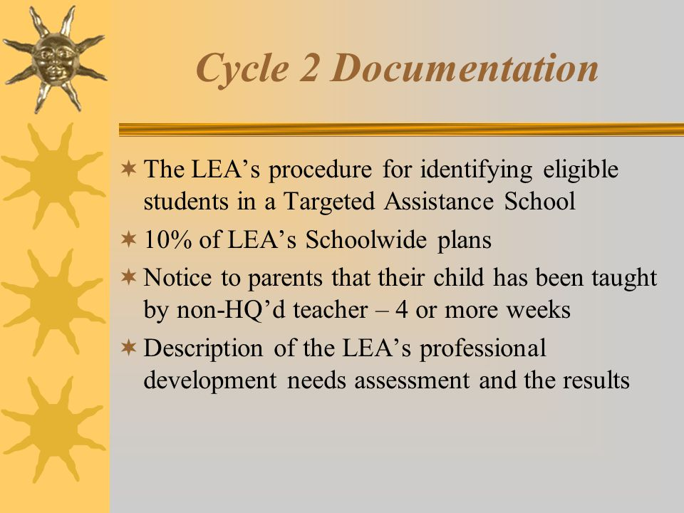 Cycle 2 Documentation  The LEA's procedure for identifying eligible students in a Targeted Assistance School  10% of LEA's Schoolwide plans  Notice to parents that their child has been taught by non-HQ'd teacher – 4 or more weeks  Description of the LEA's professional development needs assessment and the results