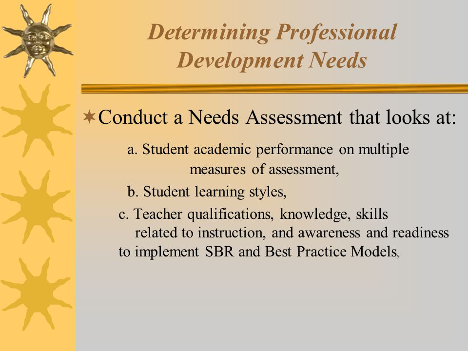 Determining Professional Development Needs  Conduct a Needs Assessment that looks at: a.