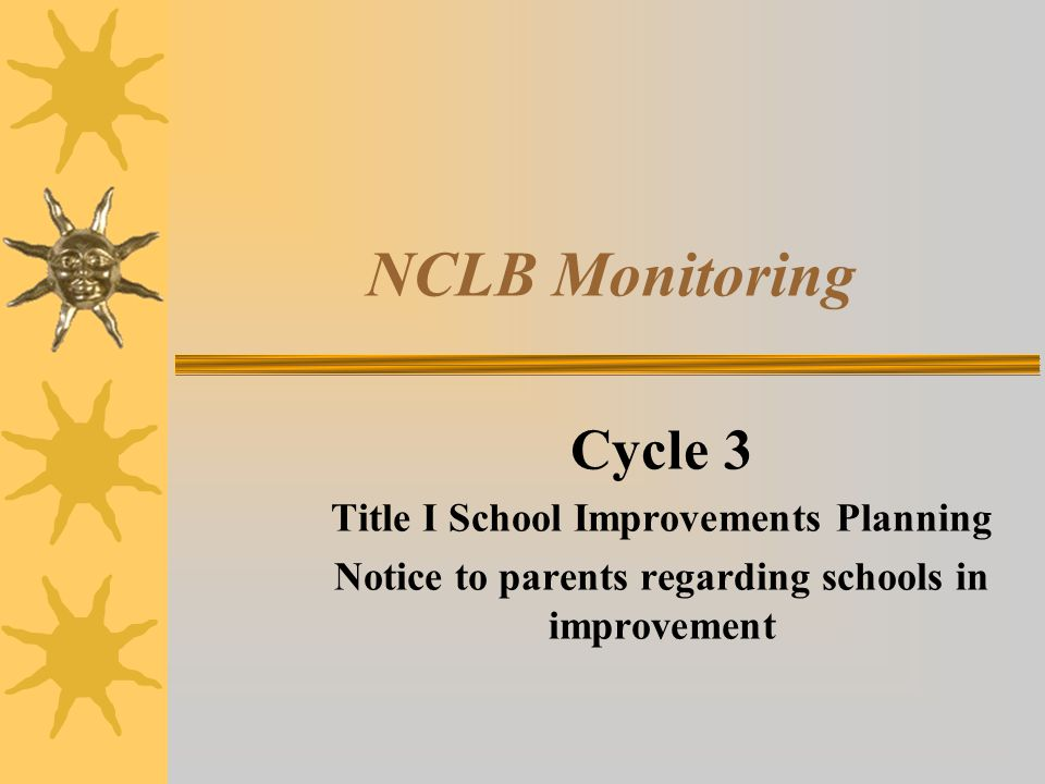 NCLB Monitoring Cycle 3 Title I School Improvements Planning Notice to parents regarding schools in improvement
