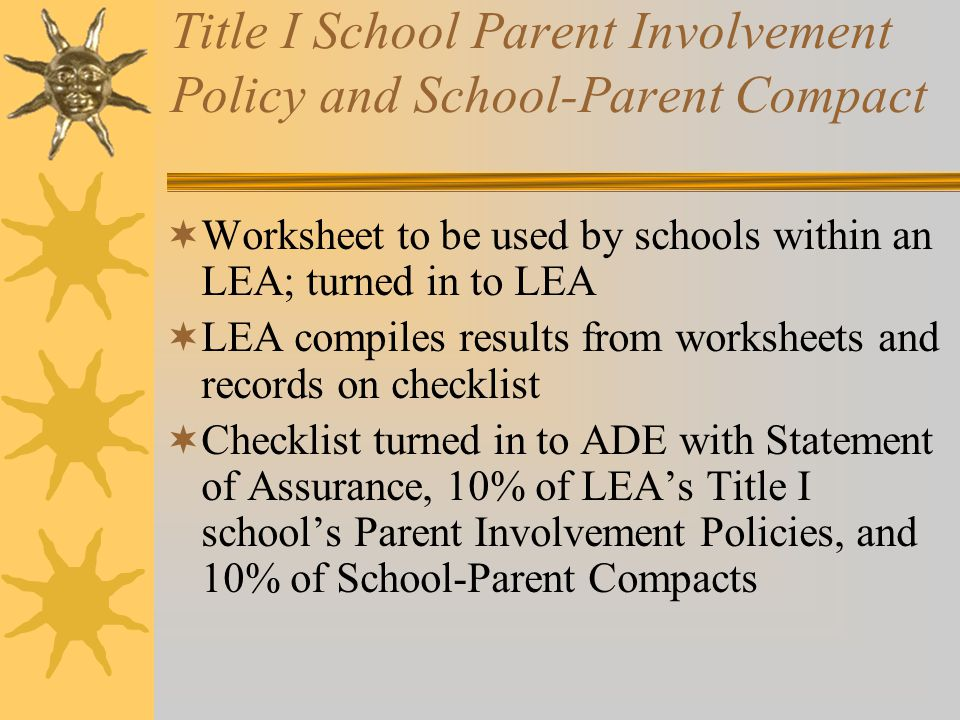 Title I School Parent Involvement Policy and School-Parent Compact  Worksheet to be used by schools within an LEA; turned in to LEA  LEA compiles results from worksheets and records on checklist  Checklist turned in to ADE with Statement of Assurance, 10% of LEA's Title I school's Parent Involvement Policies, and 10% of School-Parent Compacts