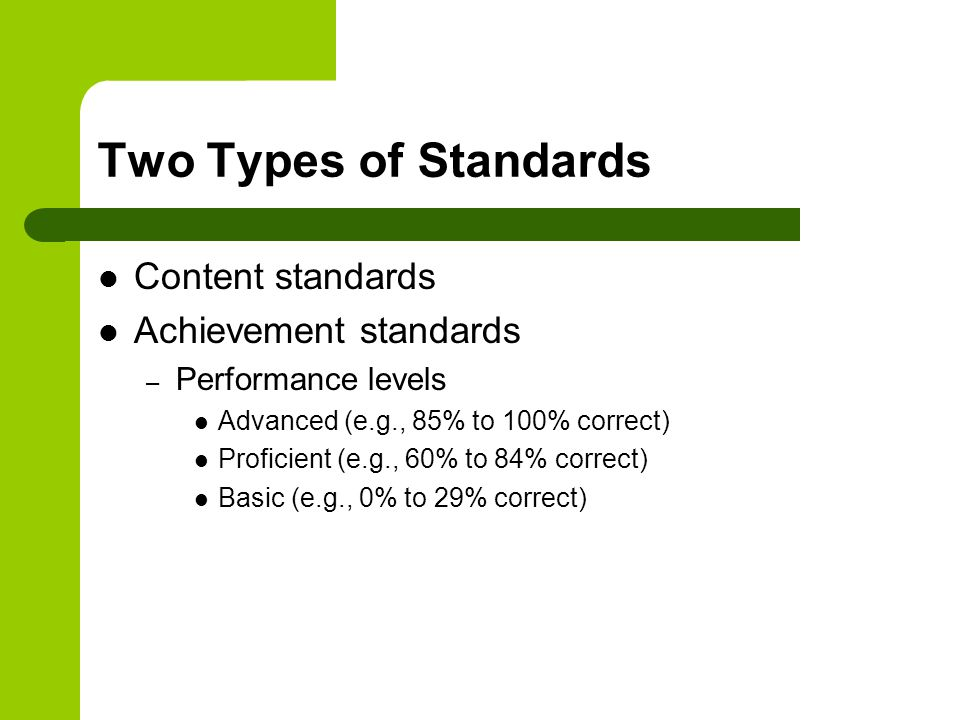 Two Types of Standards Content standards Achievement standards – Performance levels Advanced (e.g., 85% to 100% correct) Proficient (e.g., 60% to 84% correct) Basic (e.g., 0% to 29% correct)