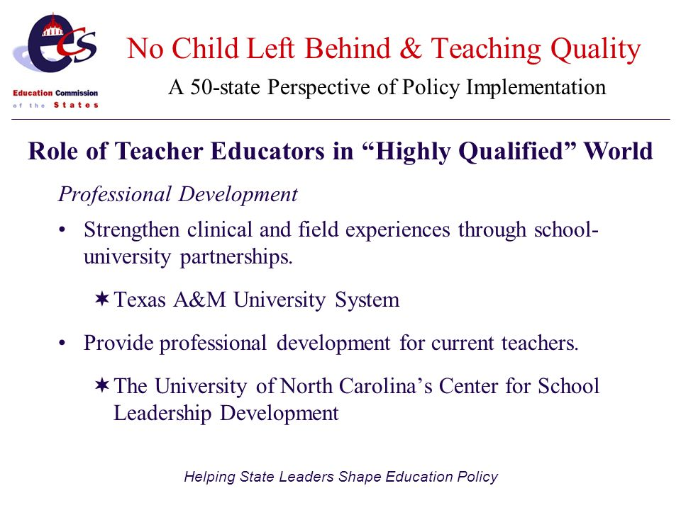 Helping State Leaders Shape Education Policy No Child Left Behind & Teaching Quality A 50-state Perspective of Policy Implementation Professional Development Strengthen clinical and field experiences through school- university partnerships.