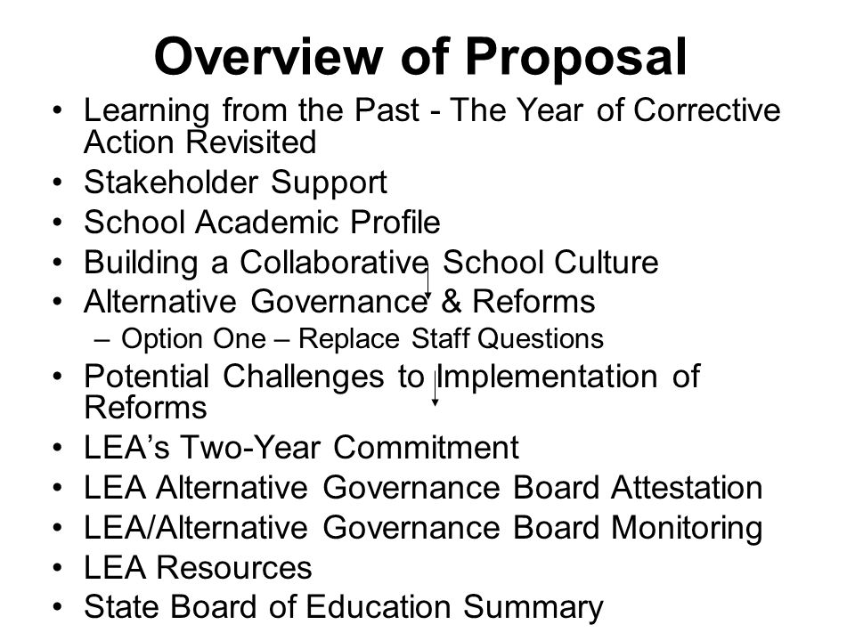 Overview of Proposal Learning from the Past - The Year of Corrective Action Revisited Stakeholder Support School Academic Profile Building a Collaborative School Culture Alternative Governance & Reforms –Option One – Replace Staff Questions Potential Challenges to Implementation of Reforms LEA's Two-Year Commitment LEA Alternative Governance Board Attestation LEA/Alternative Governance Board Monitoring LEA Resources State Board of Education Summary