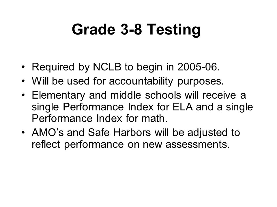 Grade 3-8 Testing Required by NCLB to begin in