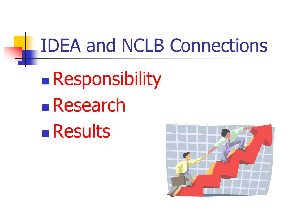 IDEA and NCLB Connections Responsibility Research Results