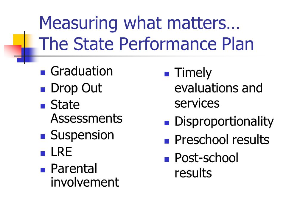 Measuring what matters… The State Performance Plan Graduation Drop Out State Assessments Suspension LRE Parental involvement Timely evaluations and services Disproportionality Preschool results Post-school results