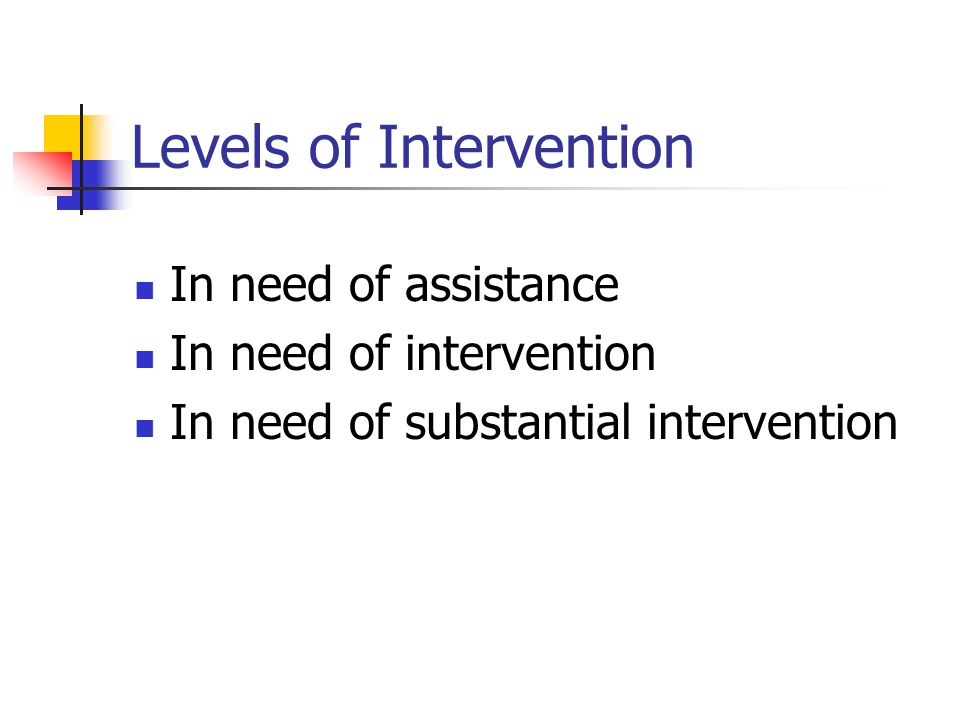 Levels of Intervention In need of assistance In need of intervention In need of substantial intervention