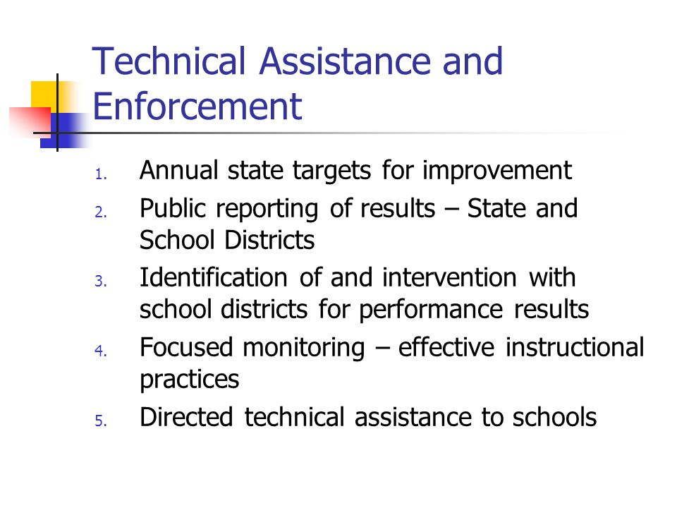 Technical Assistance and Enforcement 1. Annual state targets for improvement 2.