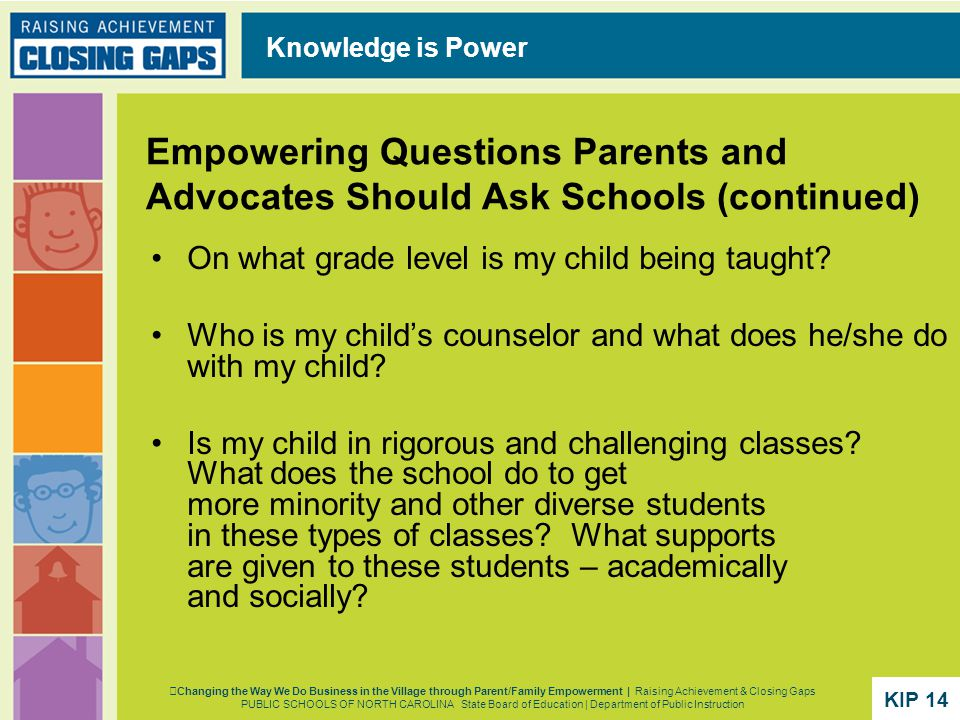 Empowering Questions Parents and Advocates Should Ask Schools (continued) On what grade level is my child being taught.