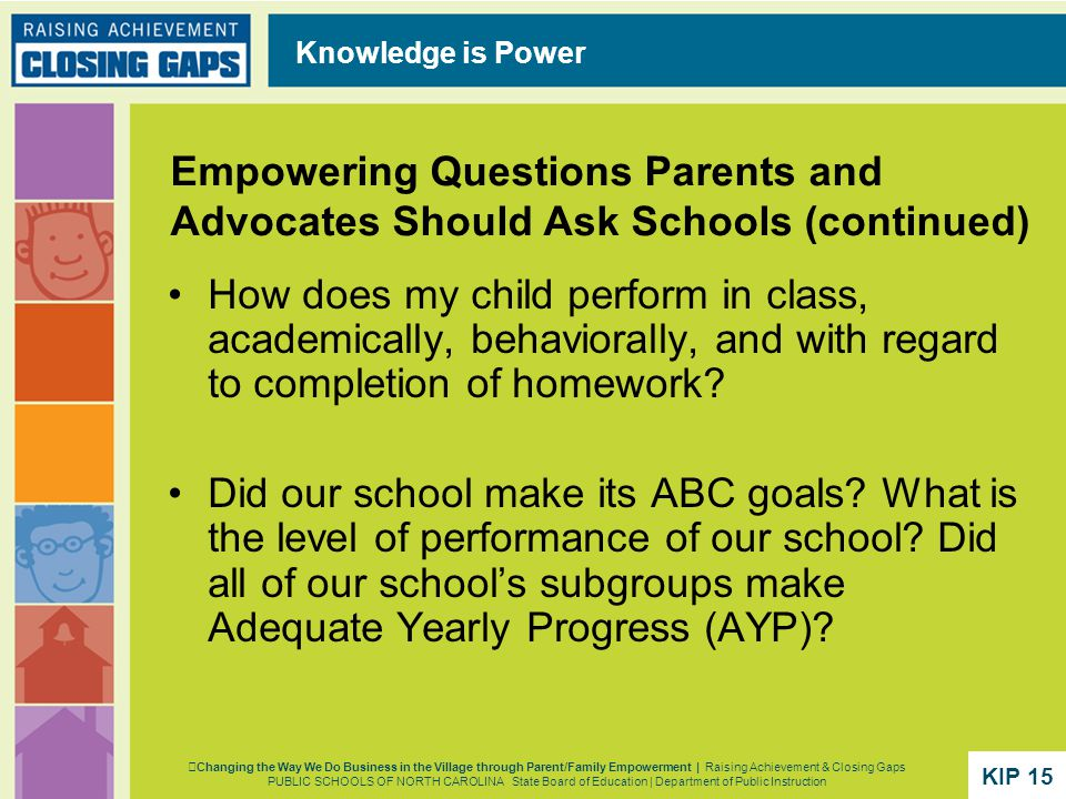Empowering Questions Parents and Advocates Should Ask Schools (continued) How does my child perform in class, academically, behaviorally, and with regard to completion of homework.