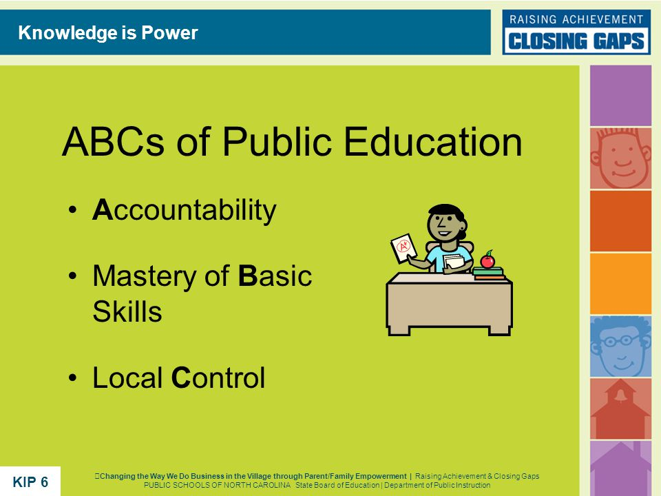 ABCs of Public Education Accountability Mastery of Basic Skills Local Control Knowledge is Power Changing the Way We Do Business in the Village through Parent/Family Empowerment | Raising Achievement & Closing Gaps PUBLIC SCHOOLS OF NORTH CAROLINA State Board of Education | Department of Public Instruction KIP 6