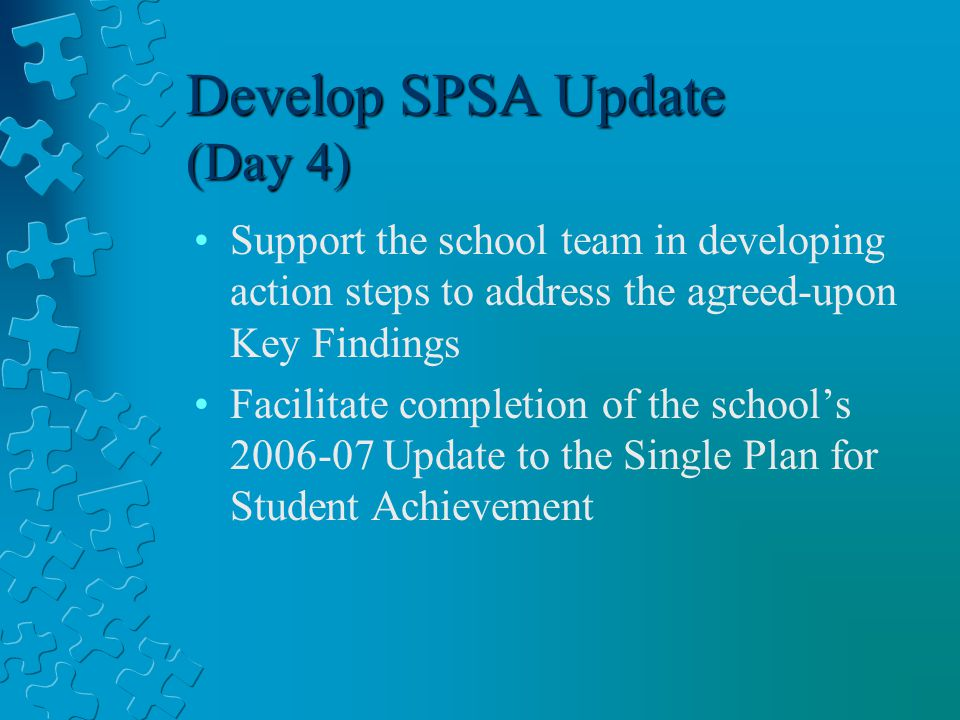 Develop SPSA Update (Day 4) Support the school team in developing action steps to address the agreed-upon Key Findings Facilitate completion of the school's Update to the Single Plan for Student Achievement