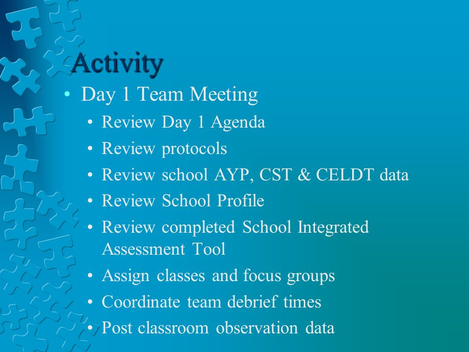 Activity Day 1 Team Meeting Review Day 1 Agenda Review protocols Review school AYP, CST & CELDT data Review School Profile Review completed School Integrated Assessment Tool Assign classes and focus groups Coordinate team debrief times Post classroom observation data
