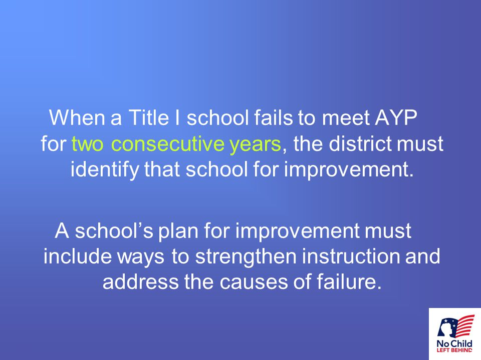4 # When a Title I school fails to meet AYP for two consecutive years, the district must identify that school for improvement.