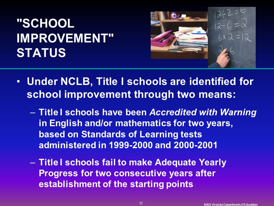 12 8//03 Virginia Department of Education SCHOOL IMPROVEMENT STATUS Under NCLB, Title I schools are identified for school improvement through two means: –Title I schools have been Accredited with Warning in English and/or mathematics for two years, based on Standards of Learning tests administered in and –Title I schools fail to make Adequate Yearly Progress for two consecutive years after establishment of the starting points