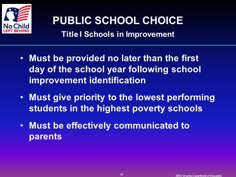 14 8//03 Virginia Department of Education PUBLIC SCHOOL CHOICE Title I Schools in Improvement Must be provided no later than the first day of the school year following school improvement identification Must give priority to the lowest performing students in the highest poverty schools Must be effectively communicated to parents