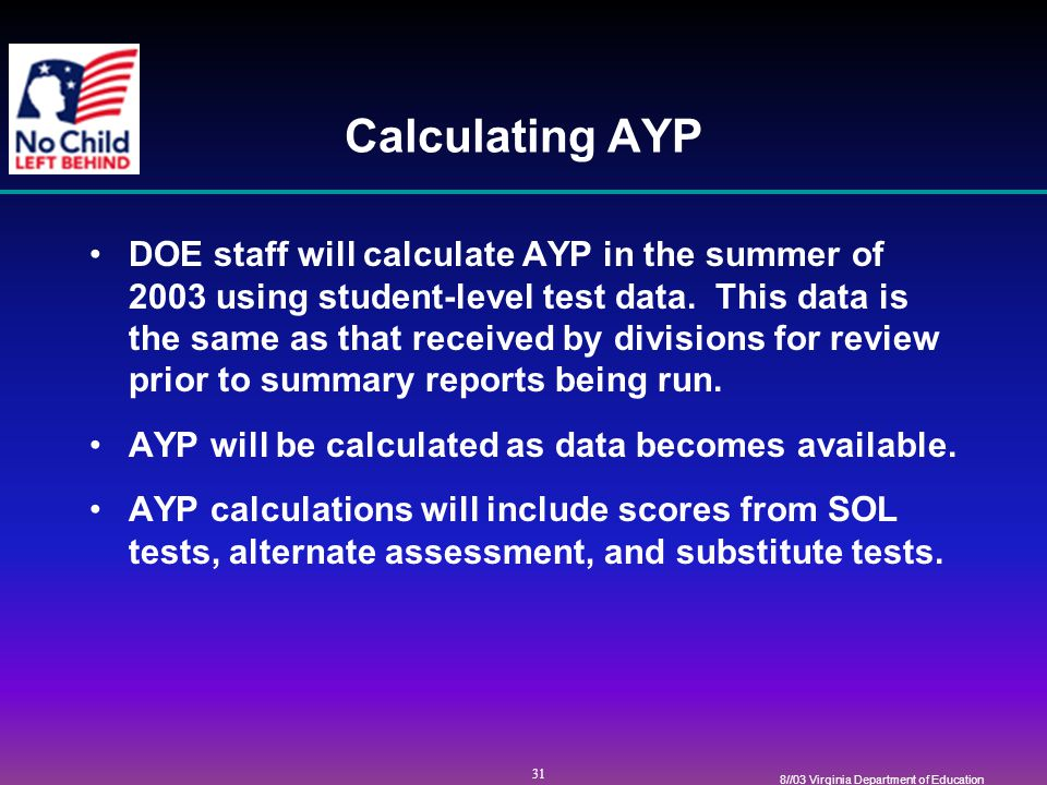 31 8//03 Virginia Department of Education Calculating AYP DOE staff will calculate AYP in the summer of 2003 using student-level test data.