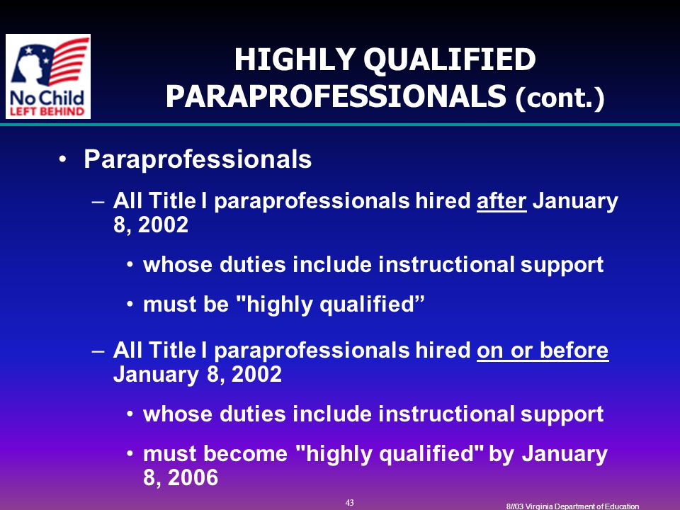 43 8//03 Virginia Department of Education HIGHLY QUALIFIED PARAPROFESSIONALS (cont.) Paraprofessionals –All Title I paraprofessionals hired after January 8, 2002 whose duties include instructional support must be highly qualified –All Title I paraprofessionals hired on or before January 8, 2002 whose duties include instructional support must become highly qualified by January 8, 2006