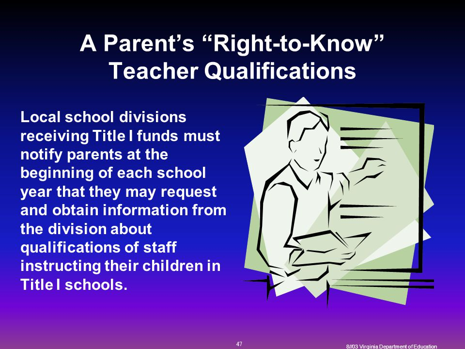 47 8//03 Virginia Department of Education A Parent's Right-to-Know Teacher Qualifications Local school divisions receiving Title I funds must notify parents at the beginning of each school year that they may request and obtain information from the division about qualifications of staff instructing their children in Title I schools.