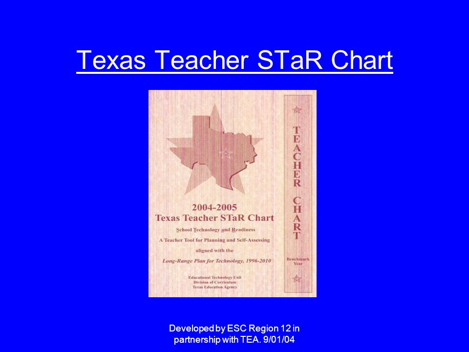 Developed by ESC Region 12 in partnership with TEA. 9/01/04 Texas Teacher STaR Chart