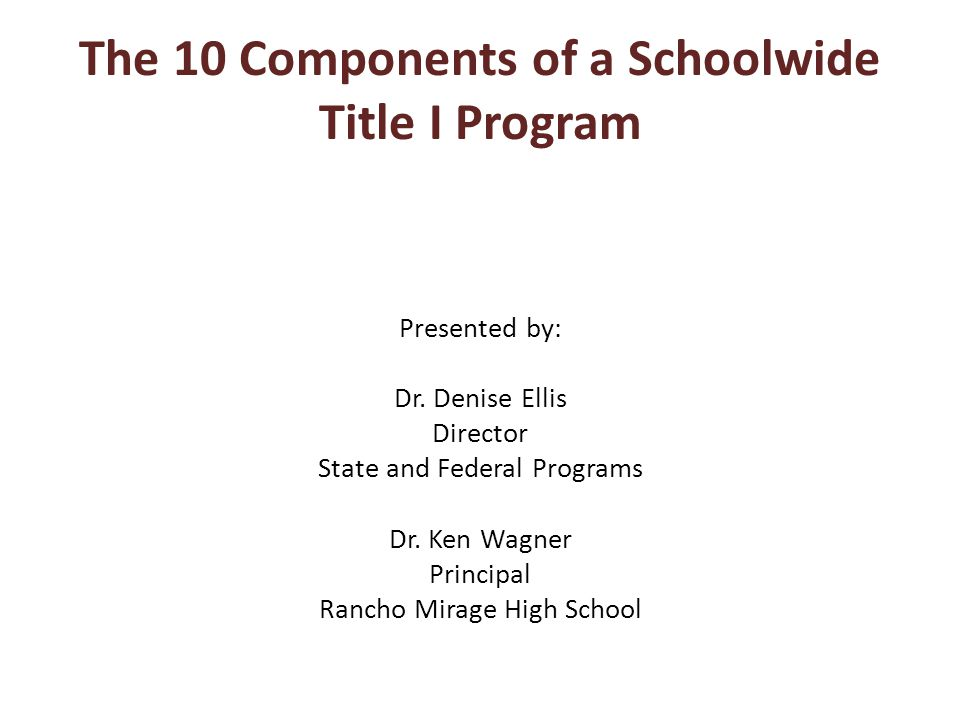 The 10 Components of a Schoolwide Title I Program Presented by: Dr.