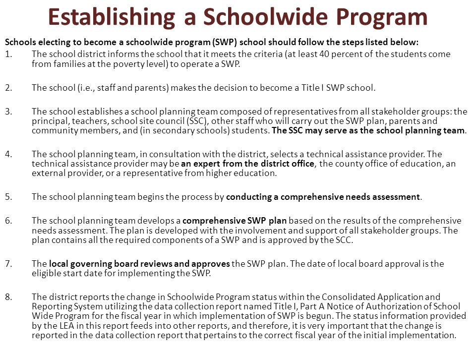 Establishing a Schoolwide Program Schools electing to become a schoolwide program (SWP) school should follow the steps listed below: 1.The school district informs the school that it meets the criteria (at least 40 percent of the students come from families at the poverty level) to operate a SWP.