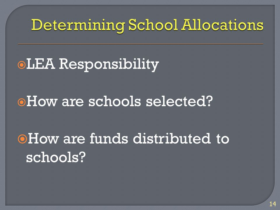  LEA Responsibility  How are schools selected  How are funds distributed to schools 14