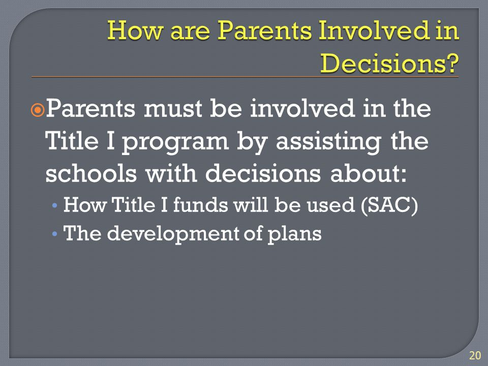  Parents must be involved in the Title I program by assisting the schools with decisions about: How Title I funds will be used (SAC) The development of plans 20