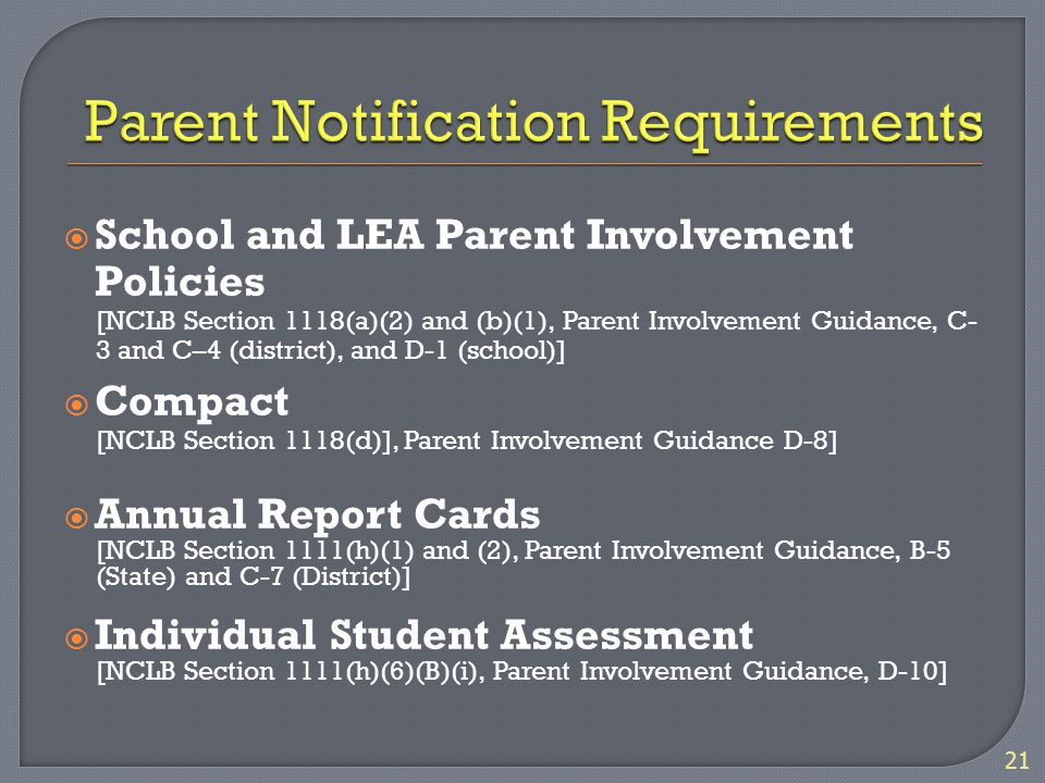  School and LEA Parent Involvement Policies [NCLB Section 1118(a)(2) and (b)(1), Parent Involvement Guidance, C- 3 and C–4 (district), and D-1 (school)]  Compact [NCLB Section 1118(d)], Parent Involvement Guidance D-8]  Annual Report Cards [NCLB Section 1111(h)(1) and (2), Parent Involvement Guidance, B-5 (State) and C-7 (District)]  Individual Student Assessment [NCLB Section 1111(h)(6)(B)(i), Parent Involvement Guidance, D-10] 21