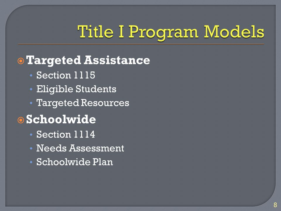  Targeted Assistance Section 1115 Eligible Students Targeted Resources  Schoolwide Section 1114 Needs Assessment Schoolwide Plan 8