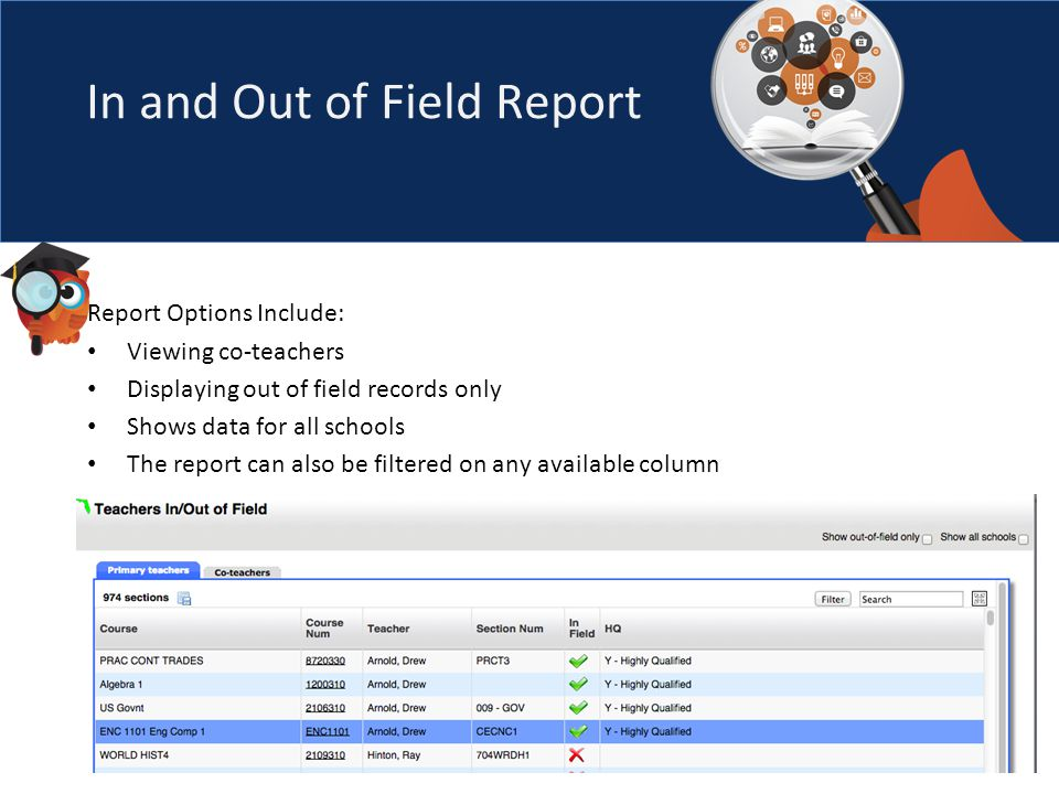 In and Out of Field Report Report Options Include: Viewing co-teachers Displaying out of field records only Shows data for all schools The report can also be filtered on any available column