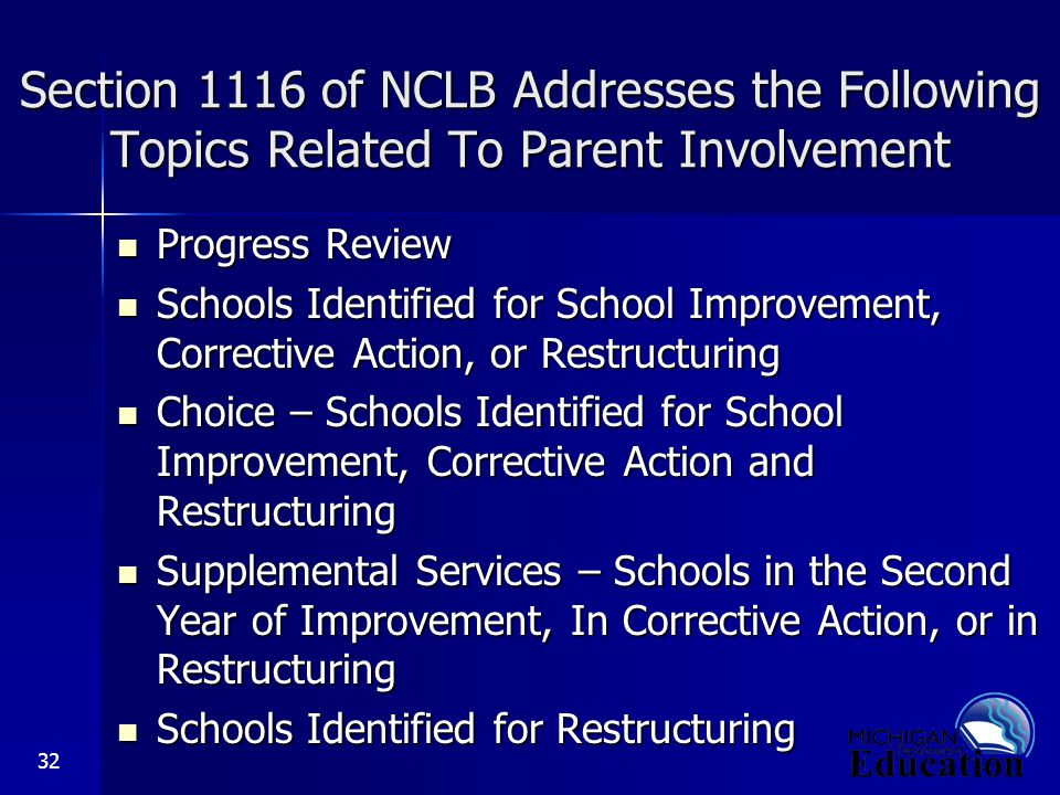 32 Section 1116 of NCLB Addresses the Following Topics Related To Parent Involvement Progress Review Progress Review Schools Identified for School Improvement, Corrective Action, or Restructuring Schools Identified for School Improvement, Corrective Action, or Restructuring Choice – Schools Identified for School Improvement, Corrective Action and Restructuring Choice – Schools Identified for School Improvement, Corrective Action and Restructuring Supplemental Services – Schools in the Second Year of Improvement, In Corrective Action, or in Restructuring Supplemental Services – Schools in the Second Year of Improvement, In Corrective Action, or in Restructuring Schools Identified for Restructuring Schools Identified for Restructuring