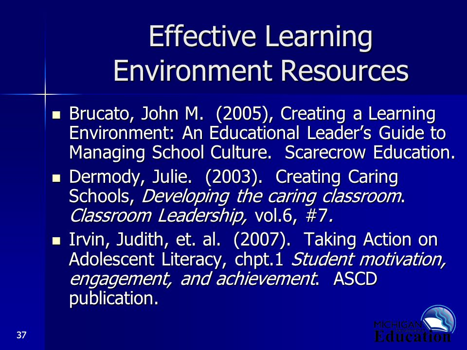 37 Effective Learning Environment Resources Brucato, John M.
