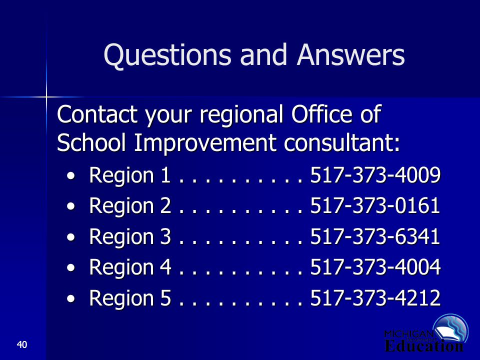 40 Questions and Answers Contact your regional Office of School Improvement consultant: Region