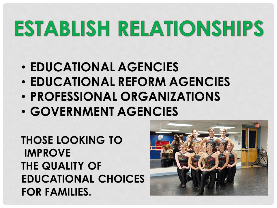 EDUCATIONAL AGENCIES EDUCATIONAL REFORM AGENCIES PROFESSIONAL ORGANIZATIONS GOVERNMENT AGENCIES THOSE LOOKING TO IMPROVE THE QUALITY OF EDUCATIONAL CHOICES FOR FAMILIES.