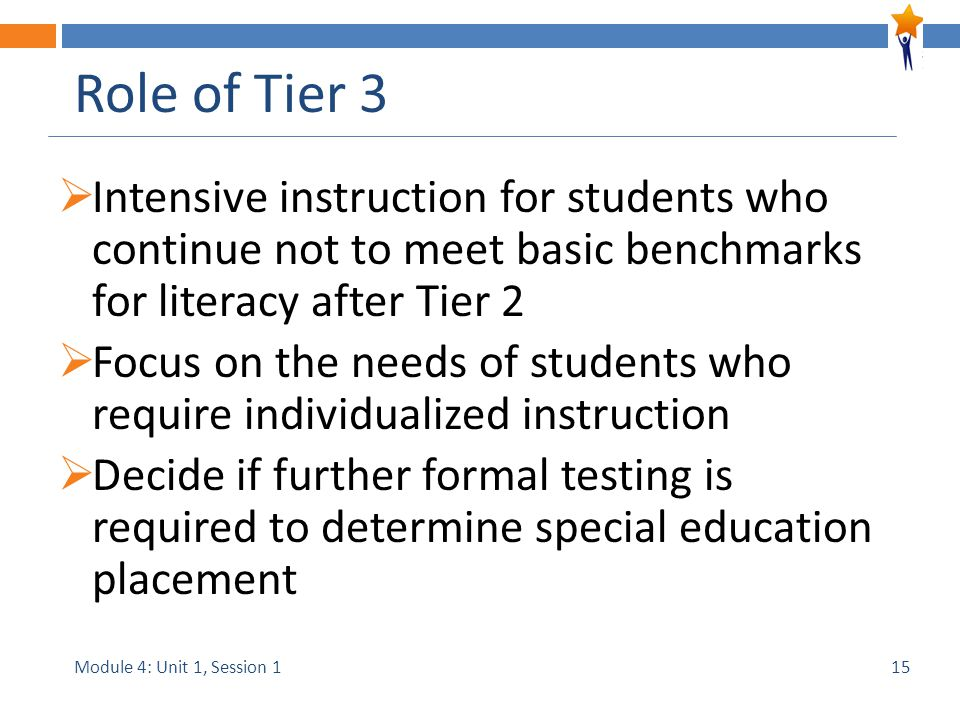 Module 4: Unit 1, Session 1 Role of Tier 3  Intensive instruction for students who continue not to meet basic benchmarks for literacy after Tier 2  Focus on the needs of students who require individualized instruction  Decide if further formal testing is required to determine special education placement 15
