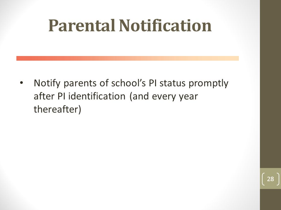 Parental Notification Notify parents of school's PI status promptly after PI identification (and every year thereafter) 28