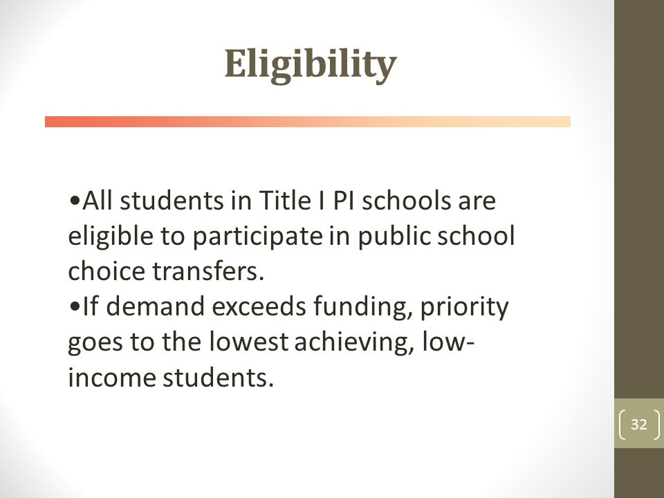 Eligibility 32 All students in Title I PI schools are eligible to participate in public school choice transfers.
