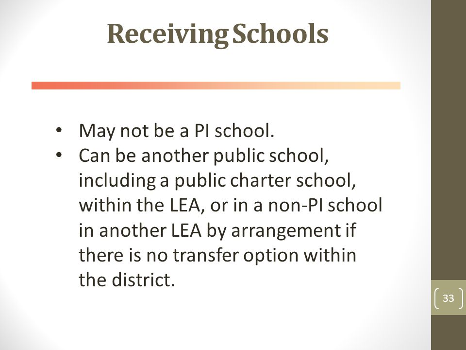 Receiving Schools 33 May not be a PI school.
