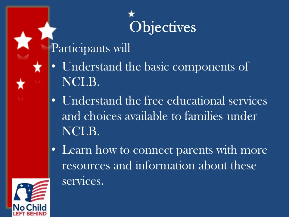 Objectives Participants will Understand the basic components of NCLB.