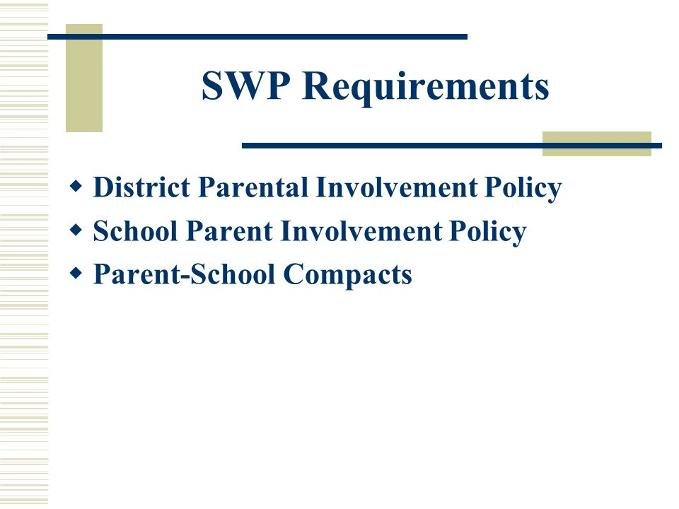 SWP Requirements  District Parental Involvement Policy  School Parent Involvement Policy  Parent-School Compacts