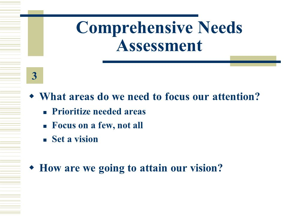 Comprehensive Needs Assessment  What areas do we need to focus our attention.