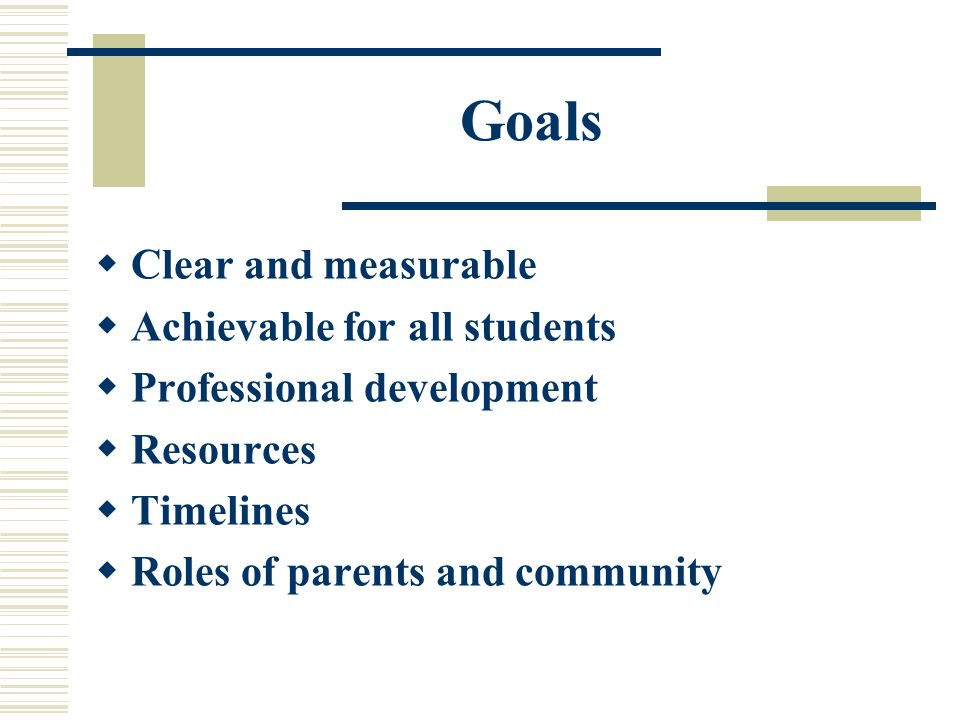 Goals  Clear and measurable  Achievable for all students  Professional development  Resources  Timelines  Roles of parents and community