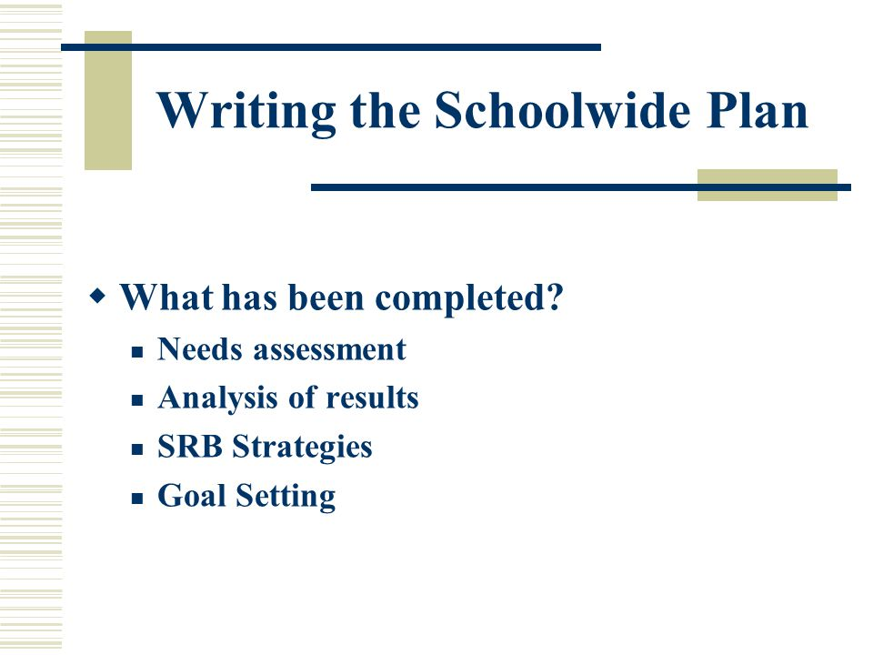Writing the Schoolwide Plan  What has been completed.