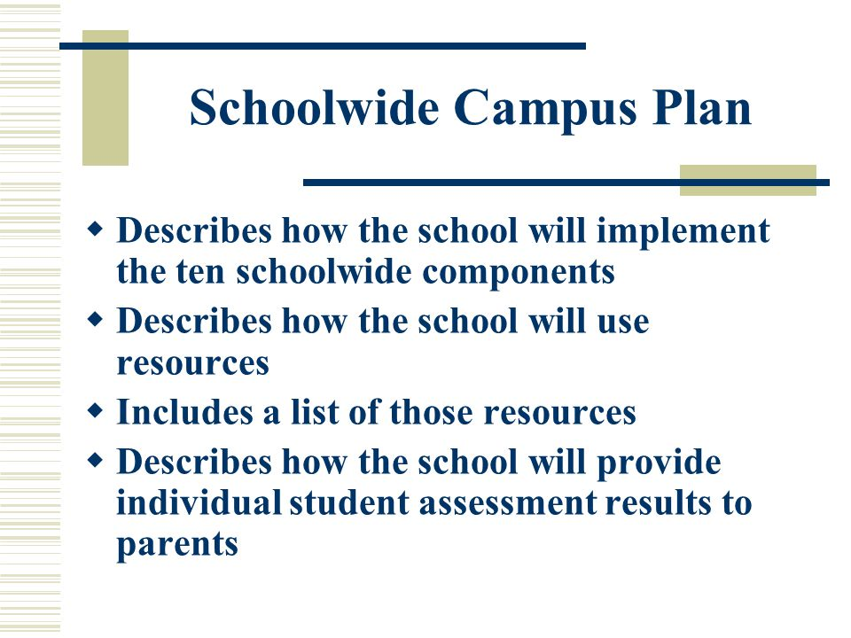 Schoolwide Campus Plan  Describes how the school will implement the ten schoolwide components  Describes how the school will use resources  Includes a list of those resources  Describes how the school will provide individual student assessment results to parents