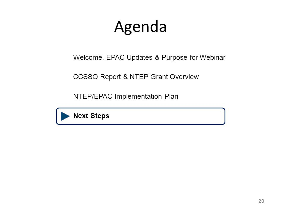 20 Agenda Welcome, EPAC Updates & Purpose for Webinar CCSSO Report & NTEP Grant Overview NTEP/EPAC Implementation Plan Next Steps
