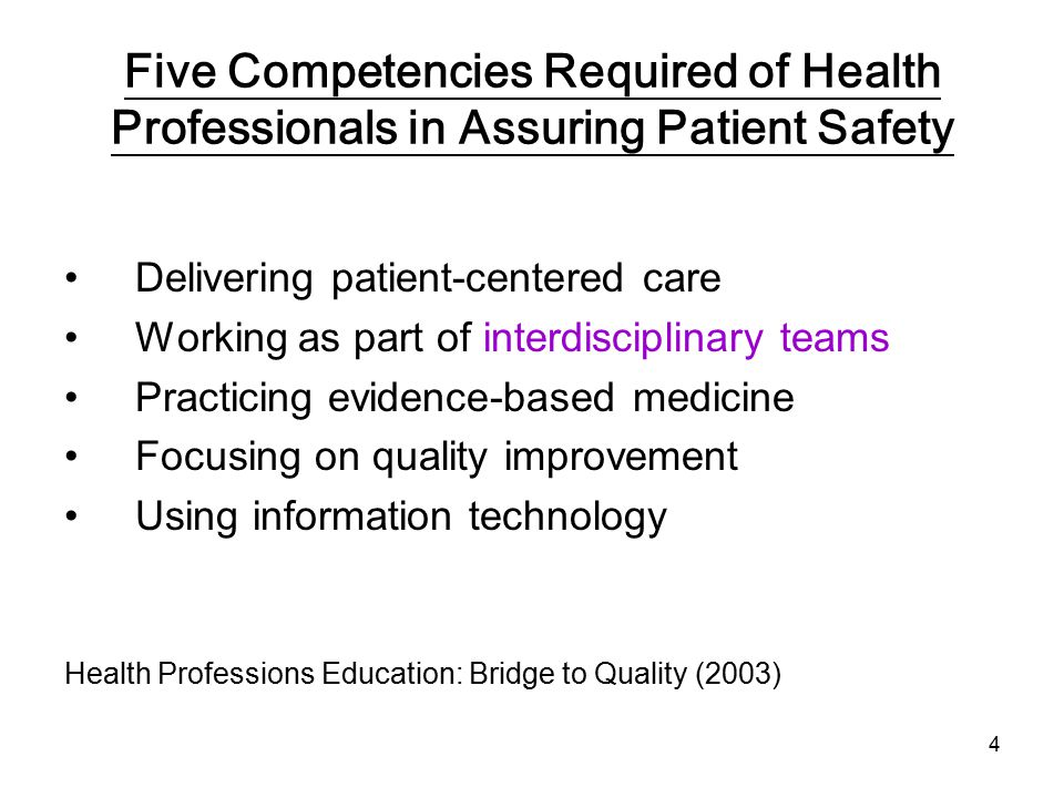 4 Five Competencies Required of Health Professionals in Assuring Patient Safety Delivering patient-centered care Working as part of interdisciplinary teams Practicing evidence-based medicine Focusing on quality improvement Using information technology Health Professions Education: Bridge to Quality (2003)